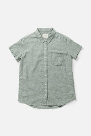 Women's Green Chambray Straight Fit Button-Up Short-Sleeve Shirt