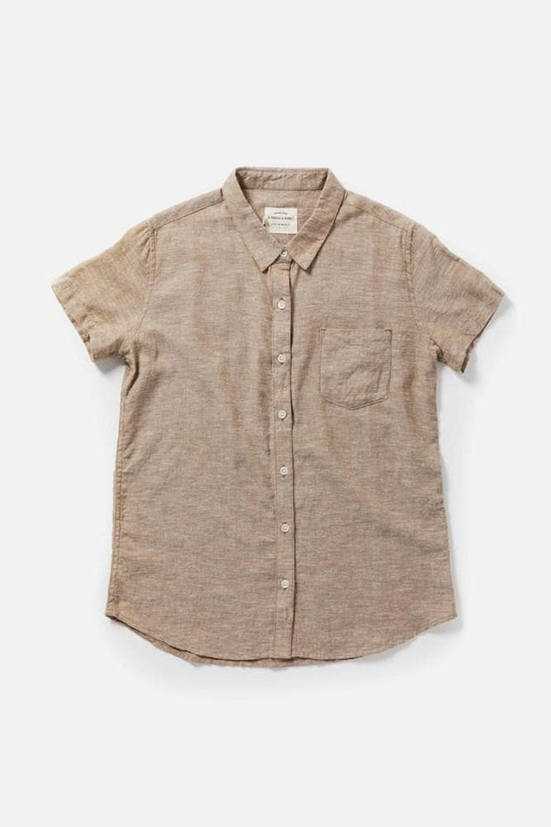 Women's Bronze Chambray Straight Fit Button-Up Short-Sleeve Shirt