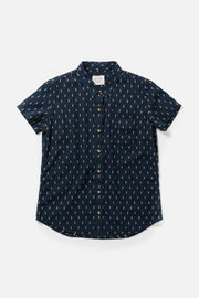 Women's Navy Cotton Straight Fit Button-Up Short-Sleeve Shirt