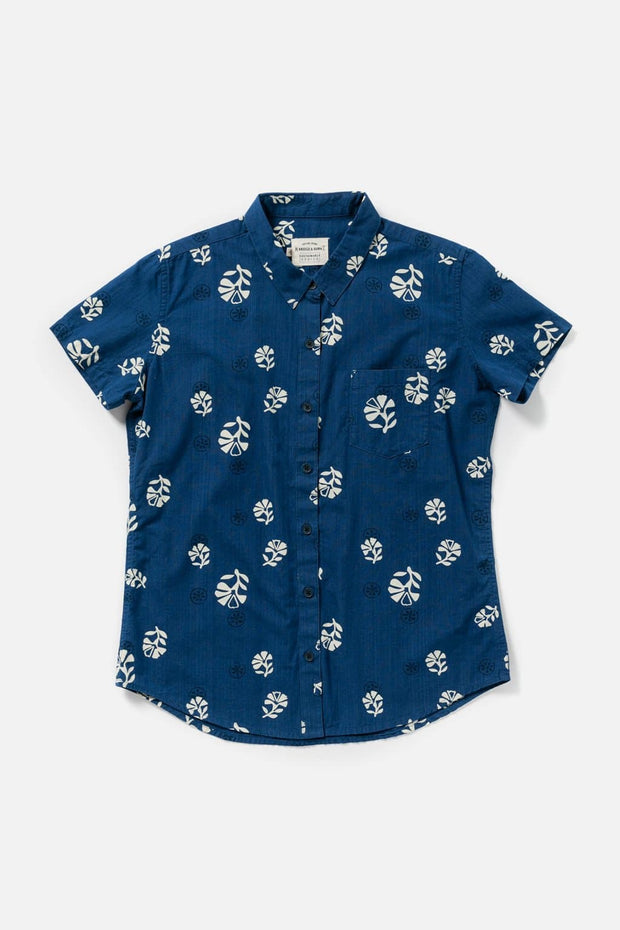 Women's Indigo Print Cotton Straight Fit Button-Up Short-Sleeve Shirt