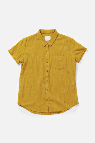 Women's Cotton Gold Straight Fit Button-Up Short-Sleeve Shirt
