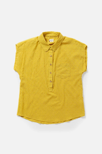 Women's Cotton Collared Textured Yellow Polka Dot Short Sleeve Shirt
