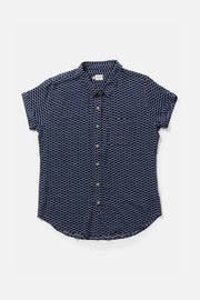 Women's Navy Patterned Short Sleeve Button Down Top
