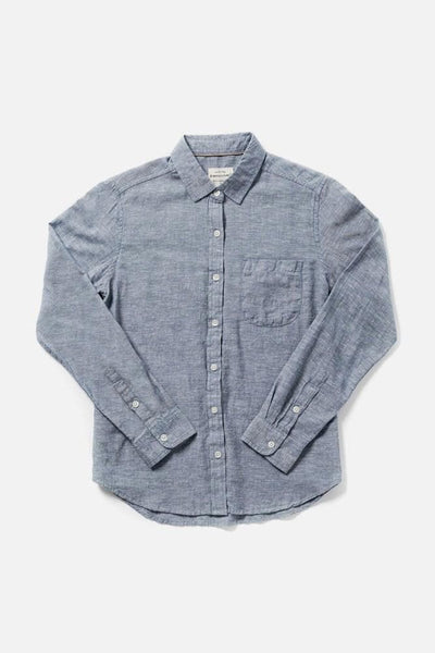 Women's Denim Chambray Slim Button-Up Long-Sleeve Shirt
