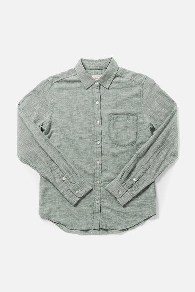 Women's Green Chambray Slim Button-Up Long-Sleeve Shirt