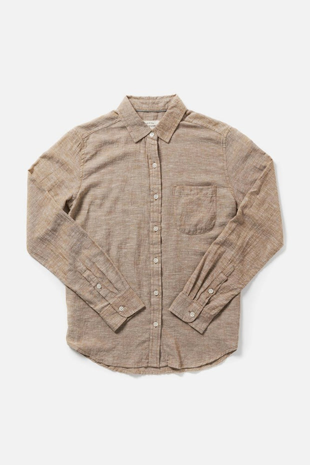 Women's Bronze Chambray Slim Button-Up Long-Sleeve Shirt