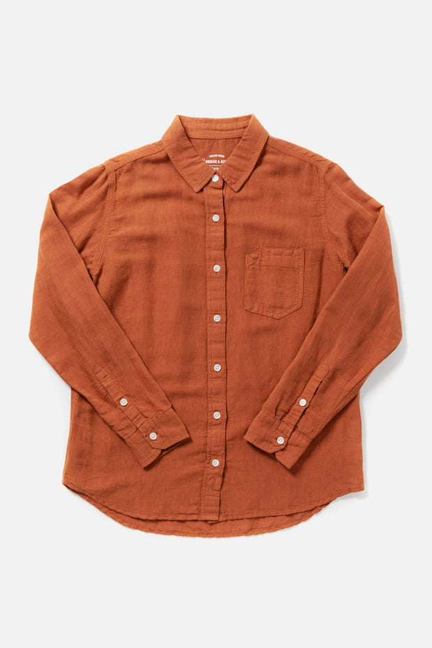 Women's Orange Linen Blend Relaxed Garment Dyed Long Sleeve Botton Down