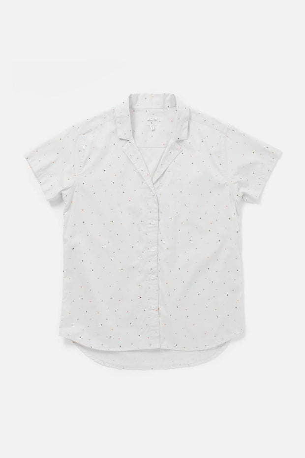 Women's White Polkadot Cotton Short-Sleeve Button-Up Top