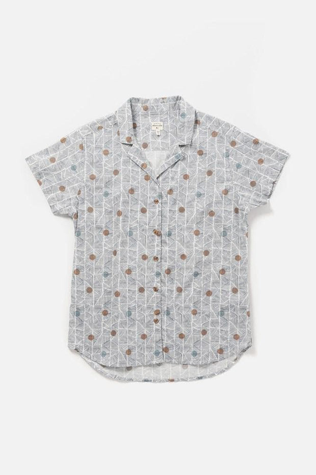Women's Blue Polkadot Cotton Short-Sleeve Button-Up Top