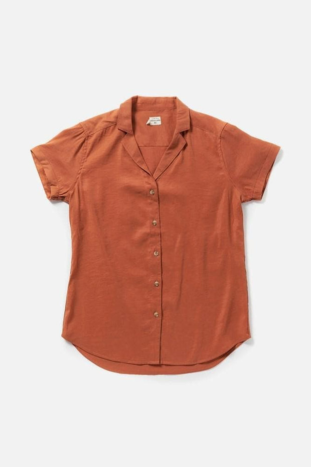 Women's Orange Modal Blend Short-Sleeve Button-Up Top