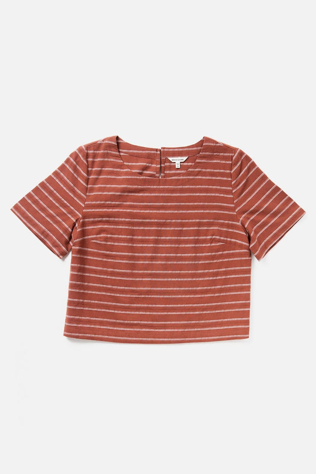 Women's Red Striped Cotton Cropped Boatneck Cropped Short-Sleeve Shirt