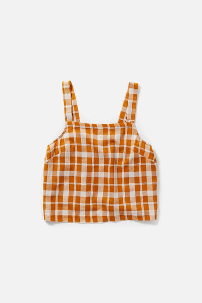 Women's Orange Plaid Cotton Blend Cropped Tank Top