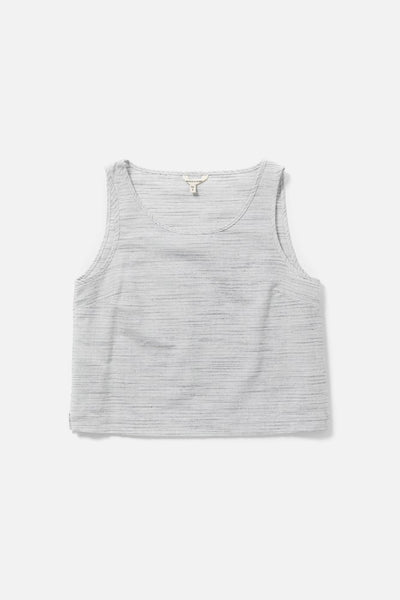 Women's Linen Blend Light Grey Cropped Tank Top