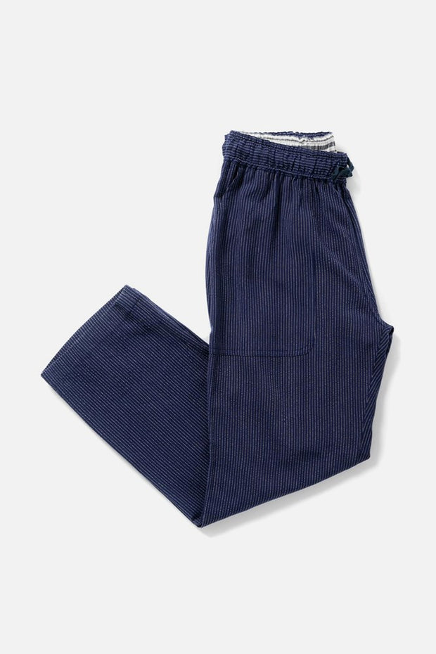 Women's Navy Pinstripe Linen Blend Cropped Tie Waist Pants
