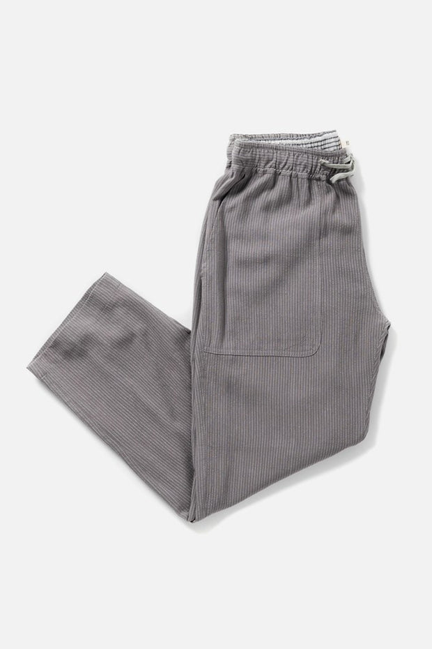 Women's Grey Pinstripe Linen Blend Cropped Tie Waist Pants