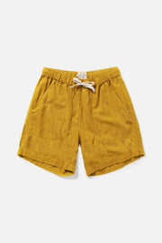Women's Golden Cotton Elastic Waist Shorts
