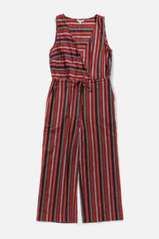 Women's Cotton Tie Waisted Burgundy Stripped Cropped Jumpsuit