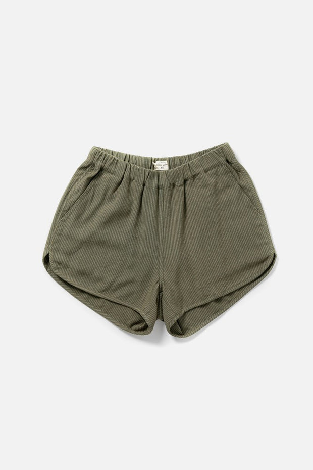 Women's Elastic Band Green Shorts