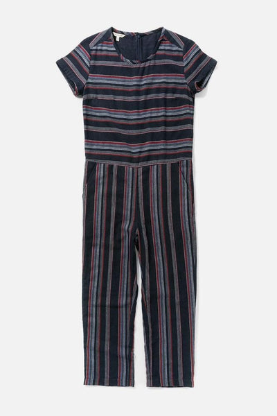 Women's Navy Stripe Cotton Short-Sleeve Jumpsuit