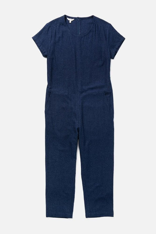Women's Indigo Cotton Short-Sleeve Jumpsuit