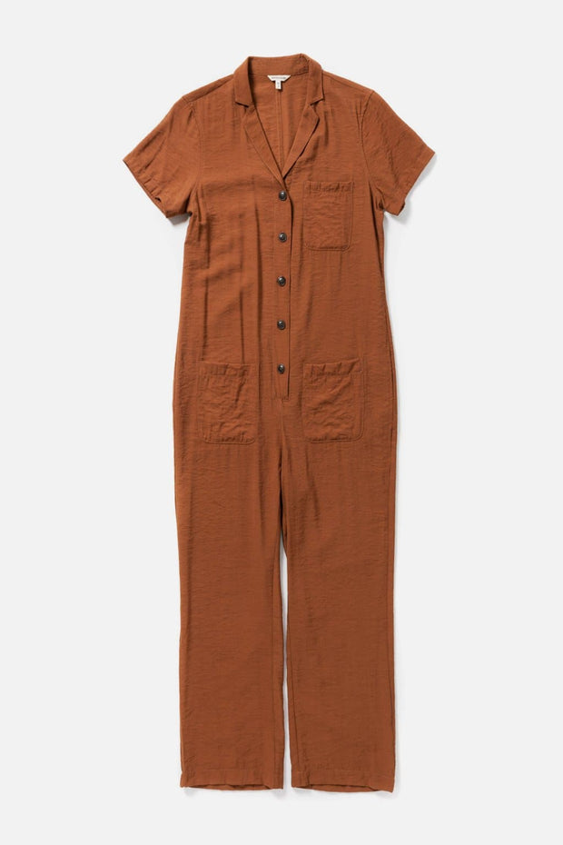 Women's Button Front Short Sleeve Jumpsuit