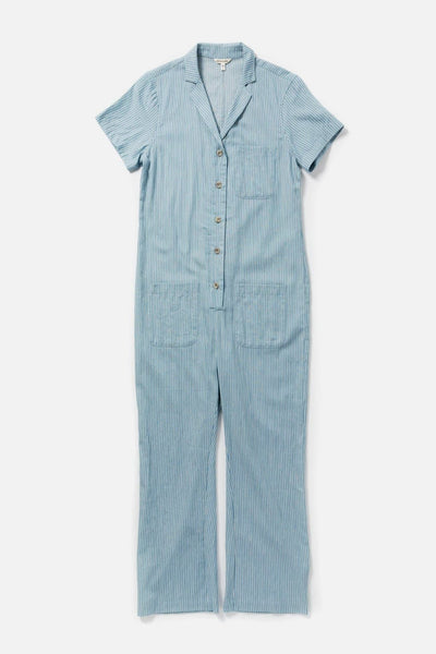 Women's Cotton Denim Stripe Button Front Short Sleeve Jumpsuit