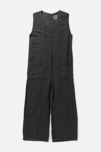 Women's Grey Linen Blend Relaxed Wide Leg Jumpsuit
