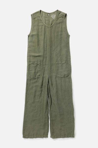 Women's Olive Linen Blend Garment Dyed Relaxed Wide Leg Jumpsuit