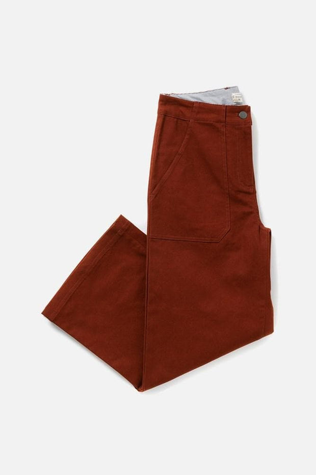 Women's Red Cotton Blend High Waisted Relaxed Cropped Pant