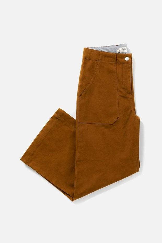 Women's Brown Cotton Blend High Waisted Relaxed Cropped Pant