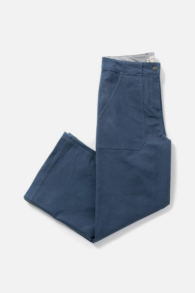 Women's Blue Cotton Blend High Waisted Relaxed Cropped Pant