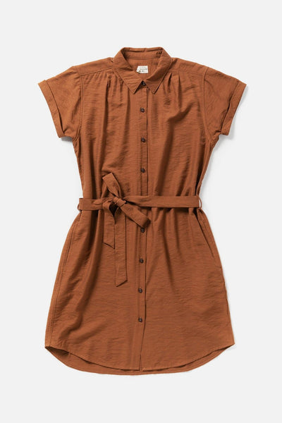 Women's Rust Rayon Blend Knee-Length Belted Button Front Dress