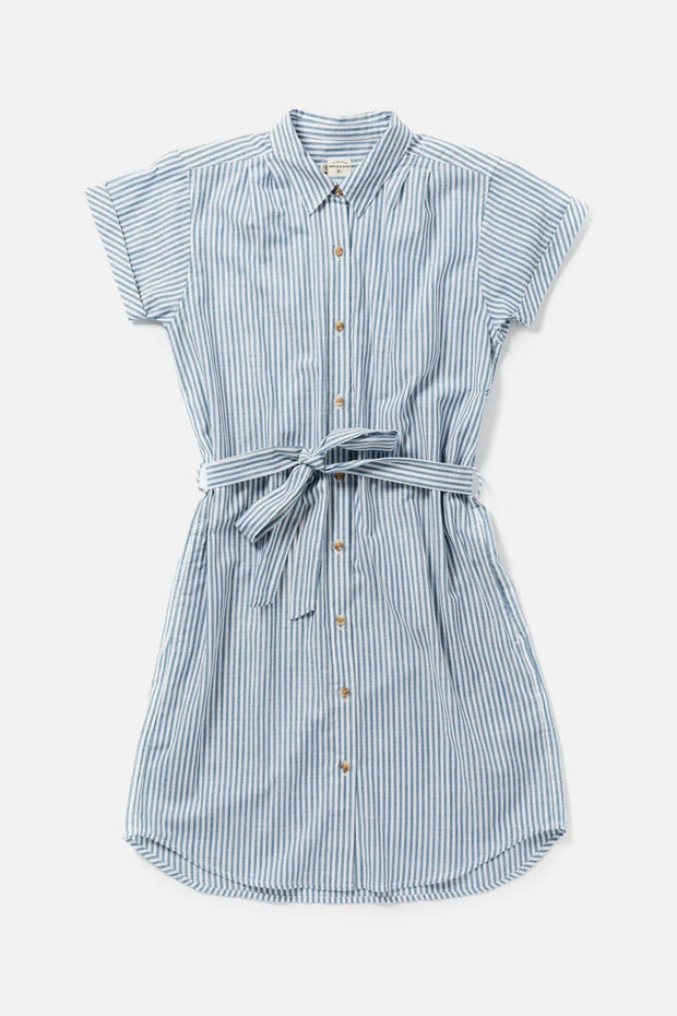 Women's Blue Striped Cotton Knee-Length Belted Button Front Dress