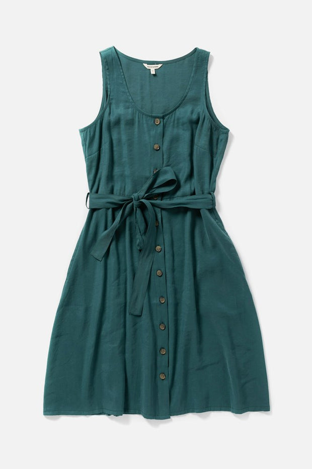 Women's Modal Blend Button Front Waist Belt Teal Dress