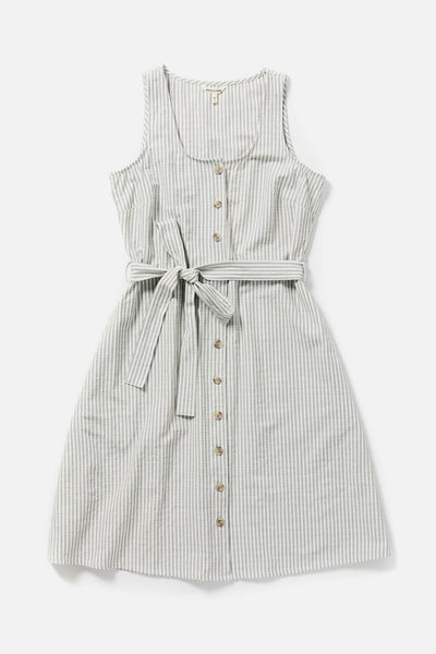 Women's Cotton Blend Button Front Waist Belt Striped Dress