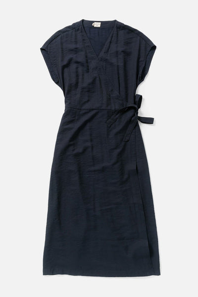 Women's Navy Cotton Blend Midi Short-Sleeve Wrap Dress