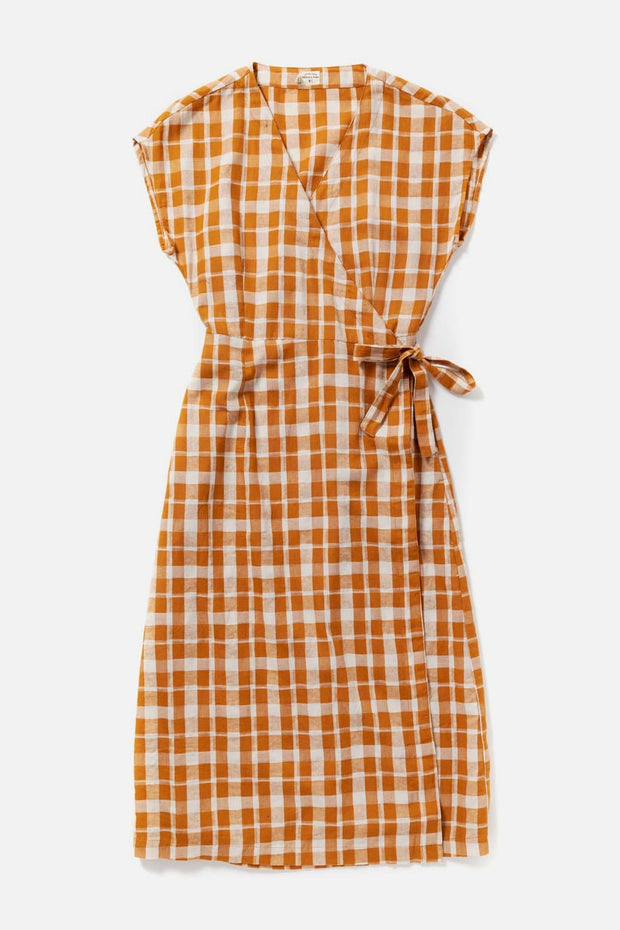 Women's Orange Plaid Cotton Blend Midi Short-Sleeve Wrap Dress