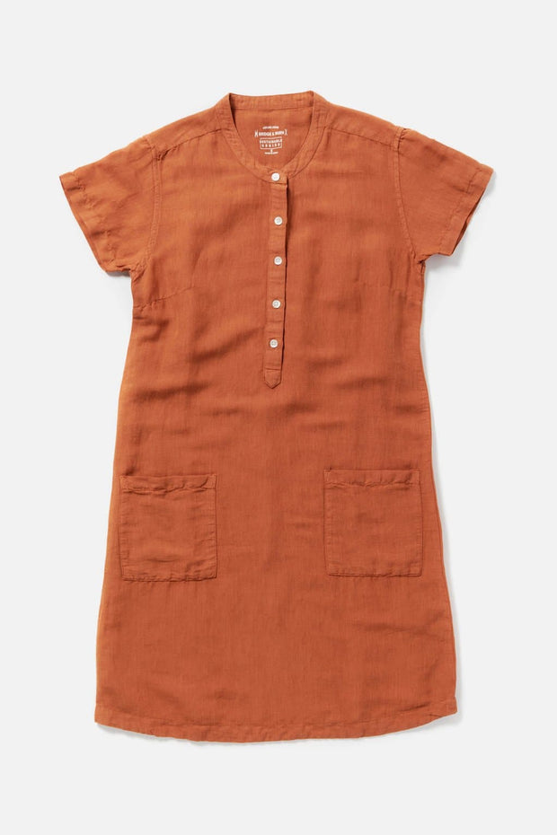 Women's Orange Linen Blend Shift Dress