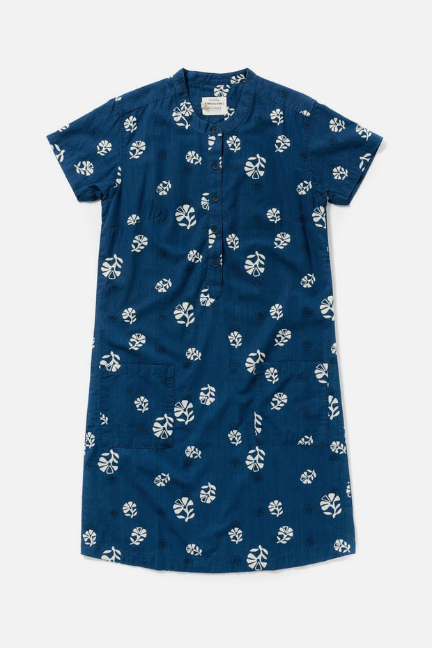 Women's Indigo Floral Print Cotton Shift Dress