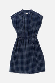 Women's Navy Rayon Elastic Waist Dress