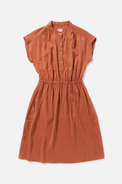 Women's Orange Modal Blend Elastic Waist Dress
