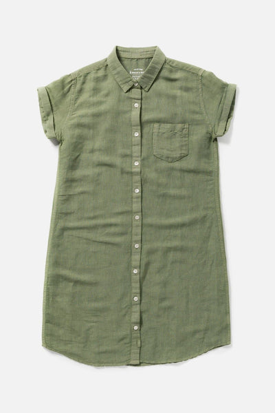 Women's Olive Linen Blend Garment Dyed Button-Front Shirt Dress