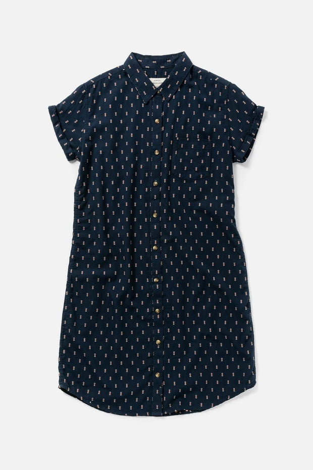 Women's Navy Cotton Button-Front Shirt Dress