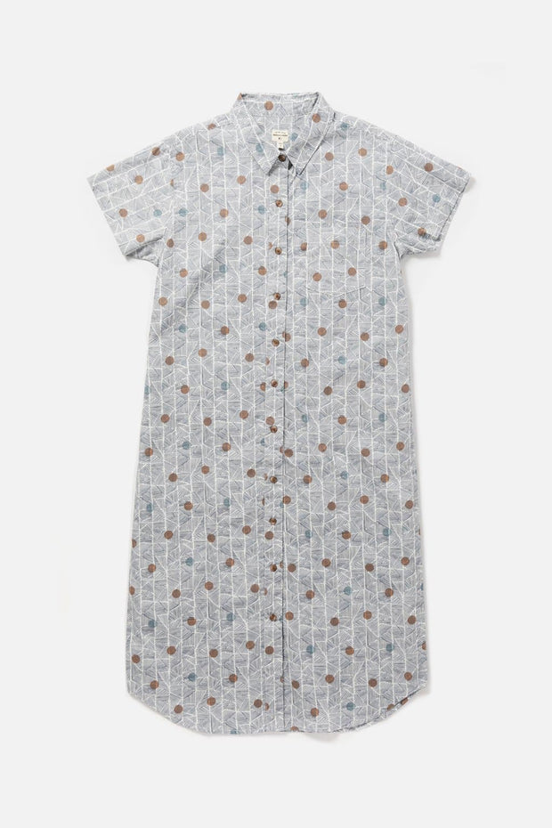 Women's Cotton Patterned Button Front Dress