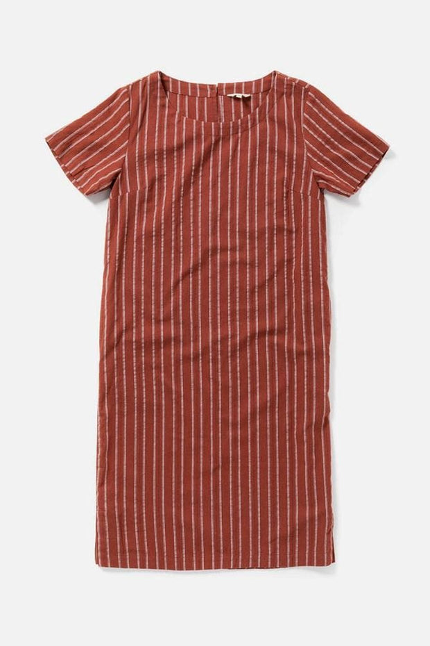 Women's Red Stripe Cotton Mid-Length Shift Dress