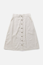 Women's Cotton Blend Cream Below the Knee Skirt