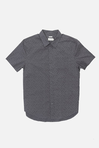 Grey arrow print cotton blend standard fit short sleeve button up with a single chest pocket