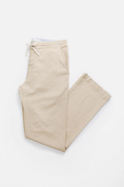 Tan Relaxed drawstring Linen blend pants