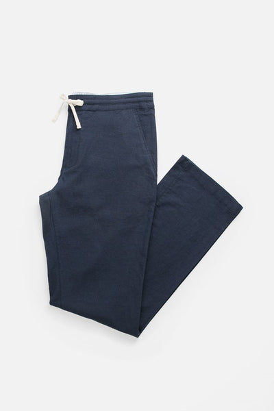 Navy Relaxed drawstring Linen blend pants