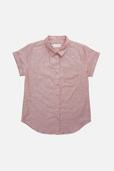 Rust 100% Cotton short sleeve button-up with cuffed sleeves and a single chest pocket